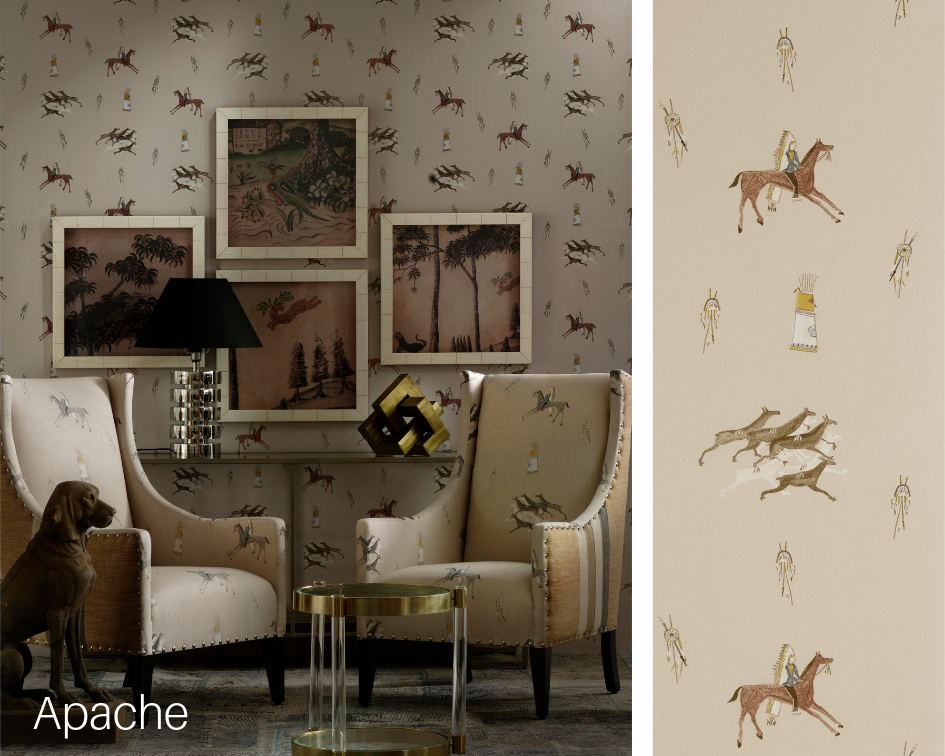 Pictured: Apache Wallpaper, Great Plains Fabric